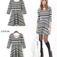 Tribal Print Sleeve A-Line Dress