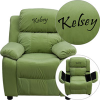 Flash Furniture Personalized Deluxe Heavily Padded Avocado Microfiber Kids Recliner with Storage Arms