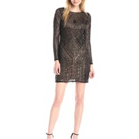 Adrianna Papell Women's Diamond Pattern Long-Sleeve Beaded Cocktail Dress