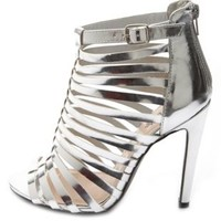 Caged Metallic Single Sole Heels by Charlotte Russe