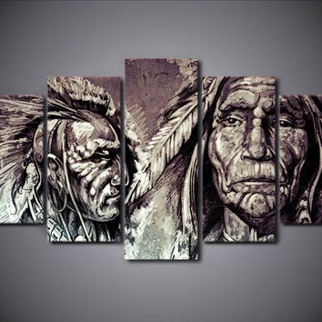 HD Printed 5 Piece Canvas Art Wall American Indians Portrait Group Painting