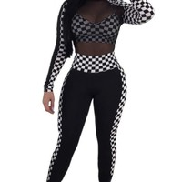 Black Mesh See Through Top Side Plaid Long Pants Jumpsuit