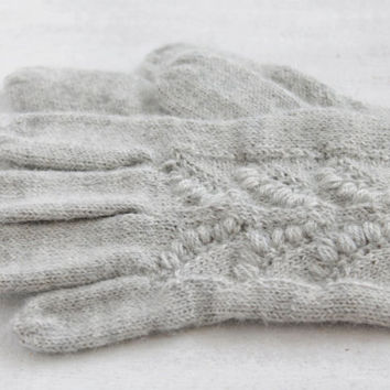 Knitted grey wool gloves, Knitted alpaca wool gloves, Wool lace gloves, Wedding gloves, Boho wool gloves, Fall winter fashion