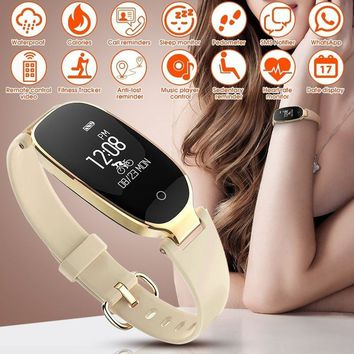 Fashion Bluetooth Smart Watch Sports Bracelet Women Wristband with Heart Rate Monitor Fitness Tracker Pedometer Waterproof