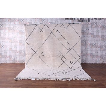Large beni ourain wool rug, 8 FT X 10.3 FT