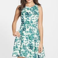 Women's Adelyn Rae Floral Print Jacquard Fit & Flare Dress