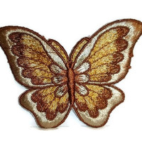 Gorgeous Butterfly Patch 1970s Embroidered Sew On Applique Badge Fall Autumn Fashion Vintage Embroidery Butterfly Lover Gift 70s Retro Badge