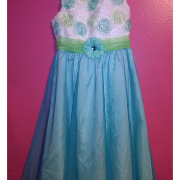 Turquoise Rare Editions Dress for Girls Size 16