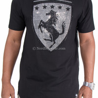"""Horse Power"" Rhinestone Biker Extended Length Zipper Tee"