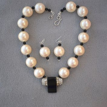 Big Pearl Bakelite Rhinestone Focal Necklace and Earrings