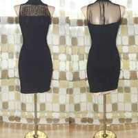 Vintage 80s Dramatic Sheer Mesh Illusion Neckline Body Con Mini Dress Stretch Cocktail Party S/M