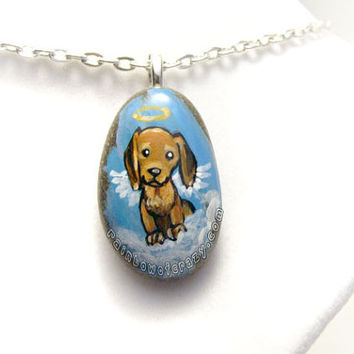 Dachshund Art Necklace, Angel Dog Pendant, Memorial Jewelry, Pet Painting, Pet Loss Accessory, Blue Sky, Brown Dog, Painted Rock