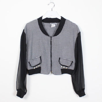 Vintage 1990s Jacket Black White Houndstooth Print Mesh SHEER Sleeves Heathers Clueless Contempo Casuals Cropped 90s Preppy Bomber Jacket M