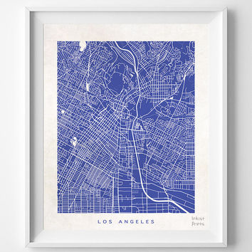Los Angeles, California, Street Map, Nursery, Poster, Wall Decor, Town, Illustration, Pretty, Room, Art, Cute, World, State, Print  [NO 503]