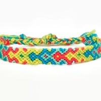 Neon Arrowhead Pattern Embroidery Macrame Friendship Bracelet