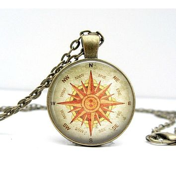 Compass Necklace : North South East West. Pendant. Charms. Picture Pendant (1153)