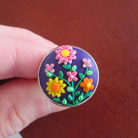 purple polymer clay ring,purple flower ring ,colorful ring,purple cameo ring,boho ring,hippie jewelry,retro jewelry,purple floral ring,gift