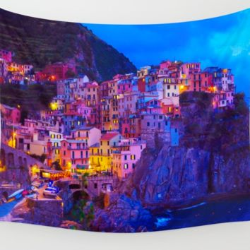 Manarola Cinque Terre Italy Wall Art Tapestry Perfect for Living Room or Bedroom