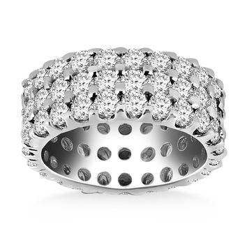 14K White Gold Triple Band Round Diamond Eternity Ring