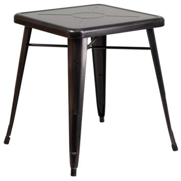 Tolix Style 24'' Square Black Metal Indoor-Outdoor Table