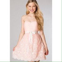 Strapless sweetheart embroidered homecoming dress