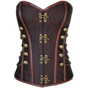 Womens Gothic Steampunk Overbust Steel Boned Overbust Corset Top Bustier With Chains Brown or Black Size S-2XL