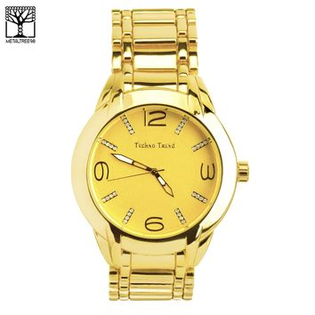 Jewelry Kay style Men's Bling Bling Fashion 14k Gold Plated Metal Band Hip Hop Watches WM 1344G