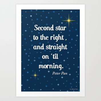 "Peter Pan ""Second star to the right and straight on 'til morning"" Art Print by Natura Picta"
