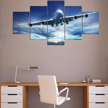 Jet Airplane in sky takeoff landing wall art on canvas print Framed UNframed