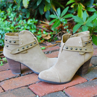 """""""Live"""" Suede Studded High Heel Booties - Taupe"""