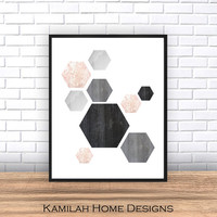 Printable Art,Scandinavian - ArtGeometric Art - Hexagon Print, Geometric Print, Wall Decor, Abstract Art Print, Instant download