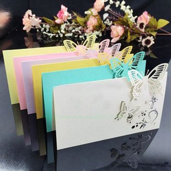 100pcs/lot Laser Cut Butterfly Place Cards Wine Glass Table Mark Glass Name Card Wedding Party Invitations Decorations Favors