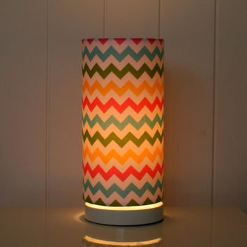Multi coloured chevron fabric lampshade, table lamp cylinder shape in blue, green, pink yellow
