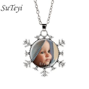 PERSONALIZED PHOTO snowflake necklace Custom Necklace Photo of Your Baby Child Mom Dad Loved One Gift for Family Member Gift