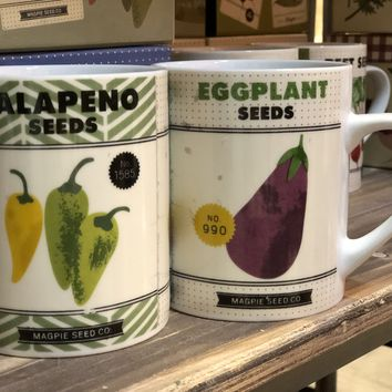 Magpie - Roots & Shoots Gardening Seeds - Big Coffee Mug (Eggplant, Jalapeno & Huckleberry)