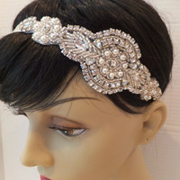 Bridal Headband, Great Gatsby Bridal Headpiece, EDEN, Bridal Headband, Rhinestone Headband, Pearl Headband