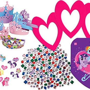 MLP Theme Make Your Own Party Tiara for 12 Children, 12 Foam Tiaras, 350 My Little Pony Stickers, 500 Adhesive Rhinestones, 16 Pink Photo Frames, 32 Tattoos, Fun Party Favor Set or Party Activity!