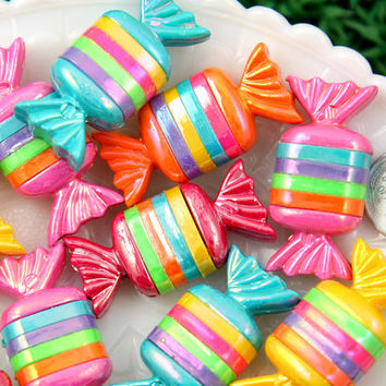 39mm Striped Chunky Candy Shape Resin Flatback Cabochons - 6 pc set