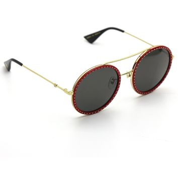 Gucci 0061S Round Sunglasses Red and Gold Frame with Gray Lenses