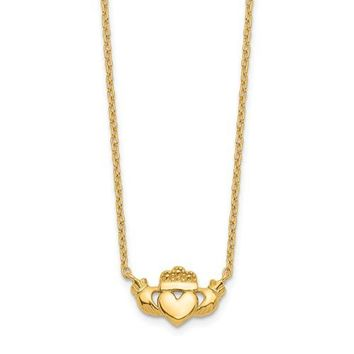 "14k Yellow or White Gold Claddagh Heart 17"" Necklace"