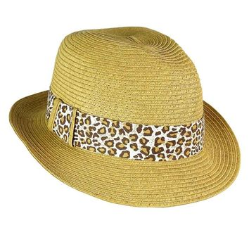 August Accessories Women's Leopard Hatband Straw Fedora