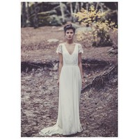 V Neck Full Length Train Wedding Dress with Lace Sleeves