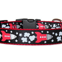 Red Rocket-ships/Spaceship Custom Dog Collar (Buckle or Martingale)