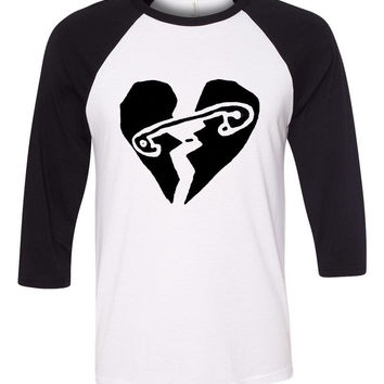 "5 Seconds of Summer 5SOS ""New Broken Scene / Safety-Pin Heart"" Baseball Tee"