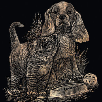 "kitten and puppy foil engraving art kit- 8"" x 10"""