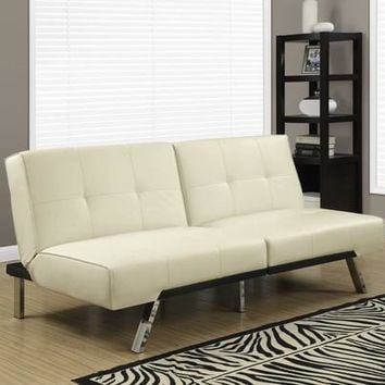 Monarch Futon Split Back Click Clack / Ivory Leather Look