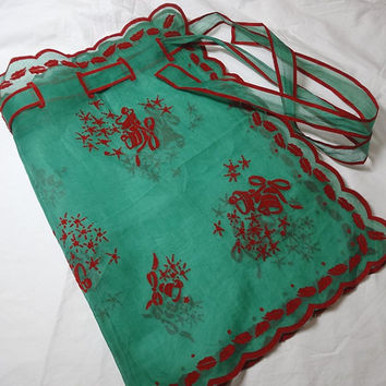 1960s Vintage Christmas Apron in Sheer Green Organza with Red Flocked Bells, Holly, & Trim, Vintage Christmas Kitchen Apron, Reversible