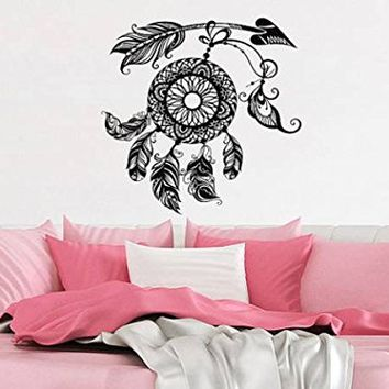 Dream Catcher Wall Decal Arrow Dreamcatcher Feathers Night Symbol Indian Vinyl Sticker Decals Bohemian Decor Bedroom Dorm Interior NV86 (17x17)