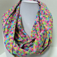Chevron Infinity Scarf - Loop Scarf - Circle Scarf -made by me with Jelly Bean fabric - Easter Scarf