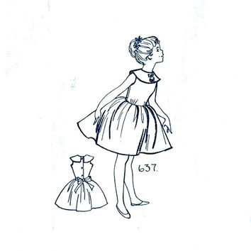Vintage Mail Order Oldhams Press Pattern Service P.637 - Girl's Dress With Full Skirt - Vintage Sewing Pattern - Chest 25""